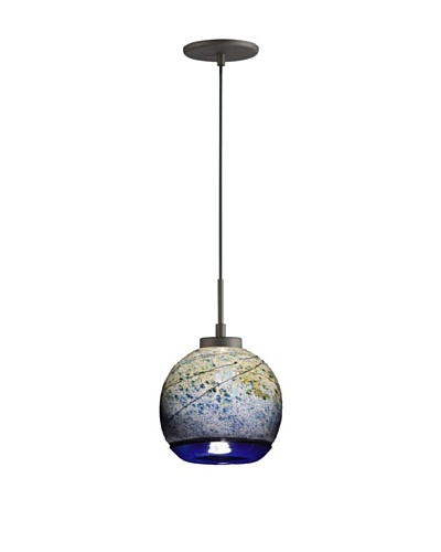 Woodbridge Lighting Single Metallic Bronze Mini-Pendant with Sedona USA Art GlassAs You See