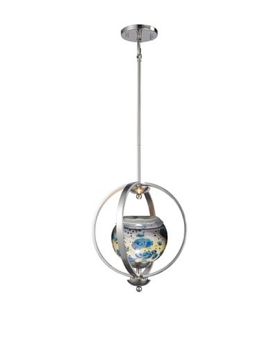 Woodbridge Lighting Geo 1-Light Medium Pendant, Satin Nickel/Splash