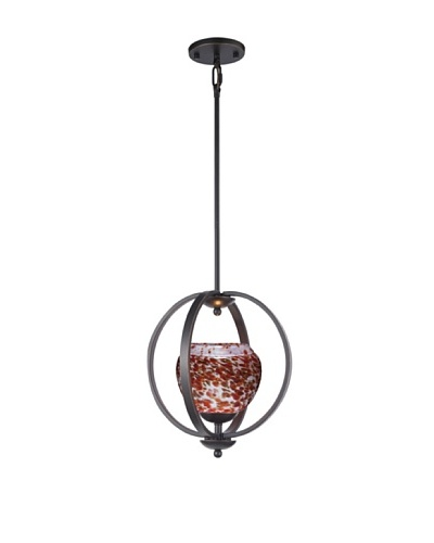 Woodbridge Lighting Geo Single Metallic Bronze Mid-Pendant with Single Tone USA Art Glass