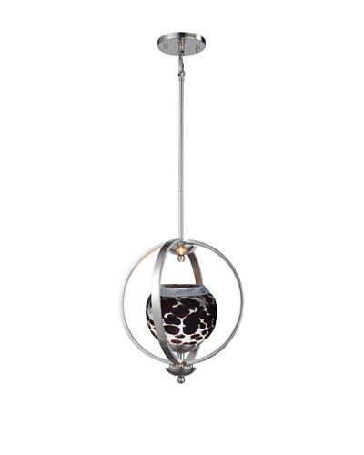 Woodbridge Lighting Geo Single Satin Nickel Mid-Pendant with Multi-Color USA Art Glass