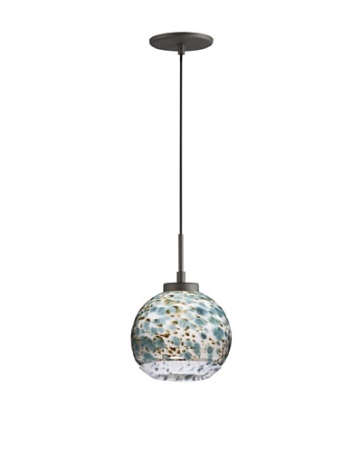 Woodbridge Lighting Single Metallic Bronze Mini-Pendant with Single Tone USA Art Glass
