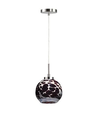 Woodbridge Lighting Single Satin Nickel Mini-Pendant with Multi-Color USA Art Glass