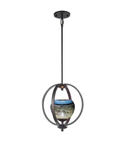 Woodbridge Lighting Geo 1-Light Medium Pendant, Metallic Bronze/Green/Purple