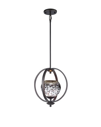 Woodbridge Lighting Geo Single Metallic Bronze Mid-Pendant with Multi-Color USA Art GlassAs You See
