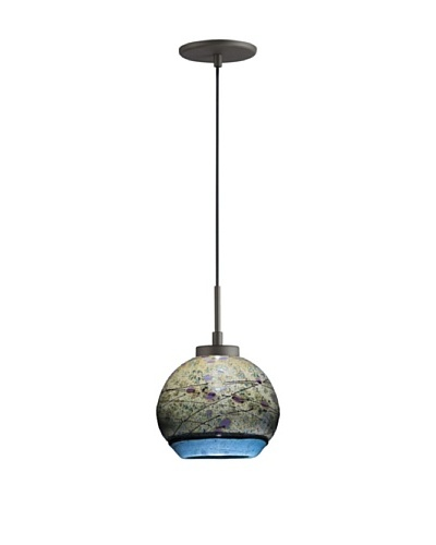 Woodbridge Lighting Single Metallic Bronze Mini-Pendant with Sedona USA Art Glass