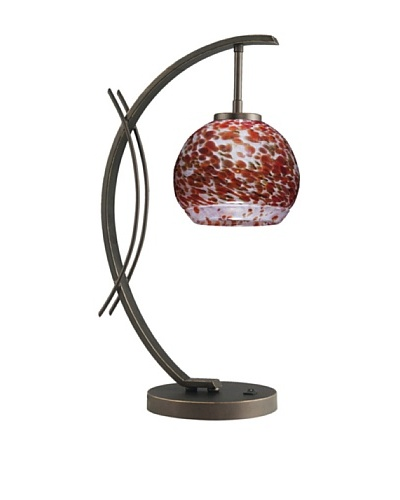 Woodbridge Lighting Eclipse Metallic Bronze Table Lamp with Single Tone USA Art Glass