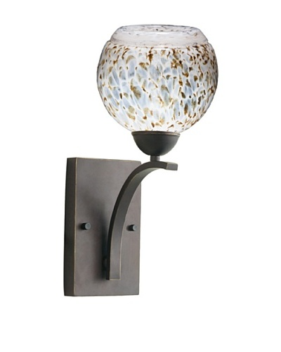 Woodbridge Lighting North Bay Metallic Bronze Wall Light with Single Tone USA Art Glass