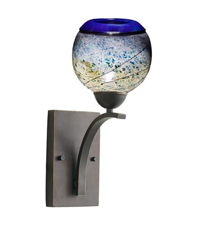Woodbridge Lighting North Bay Metallic Bronze Wall Light with Sedona USA Art Glass