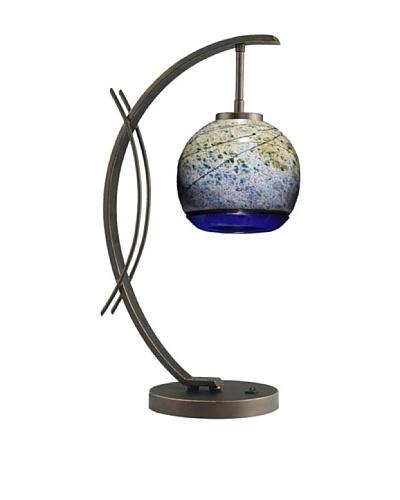 Woodbridge Lighting Eclipse Metallic Bronze Table Lamp with Sedona USA Art Glass