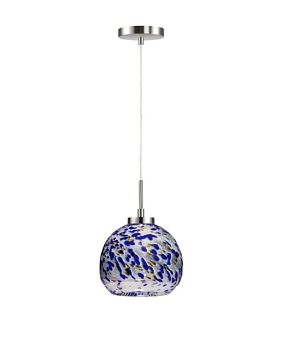 Woodbridge Lighting 1-Light Mini Pendant, Satin Nickel/Cobalt