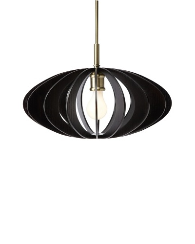 Woodbridge Lighting AquaTech 1-Light Mid-Pendant, Classic Brass/Wenge, 16.5 dia.
