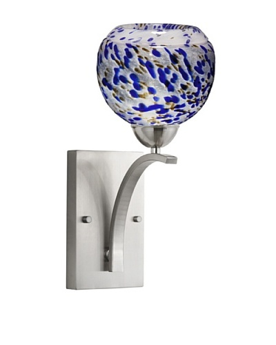 Woodbridge Lighting North Bay 1-Light Wall Sconce, Satin Nickel/Cobalt