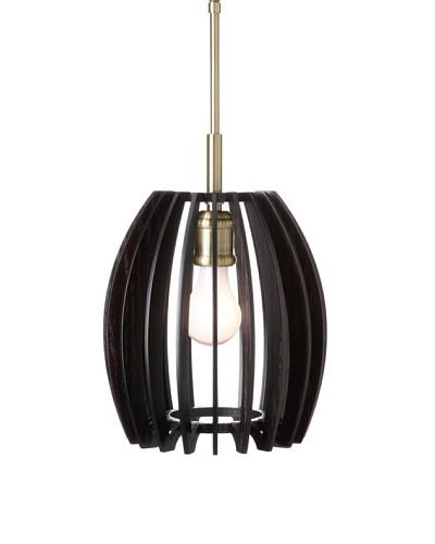 Woodbridge Lighting Canopy Wood Slat Crescendo Mini-Pendant, Classic Brass