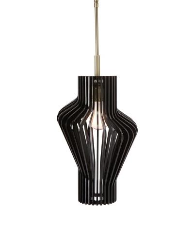 Woodbridge Lighting Canopy Wood Slat Escher Mini-Pendant, Classic Brass
