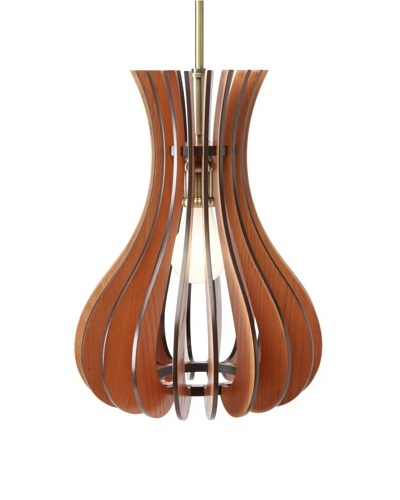 Woodbridge Lighting Canopy Wood Slat Genie Mid-Pendant, Classic Brass