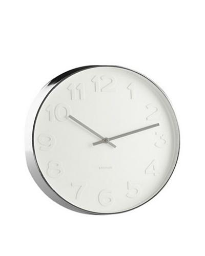 World Friendly World White On White Modern Wall Clock