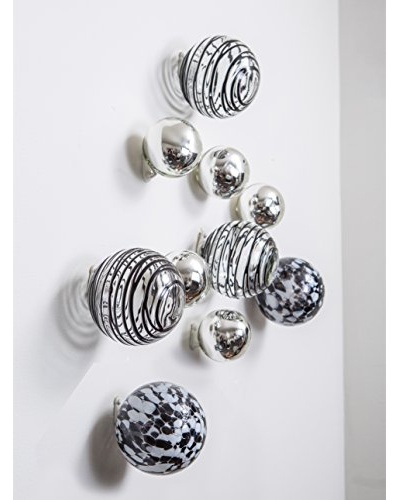 Worldly Goods Set of 10 Glass Wall Spheres, Black & White Speckled
