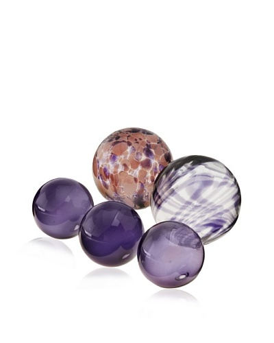 Worldly Goods Set of 5 Mouth Blown Glass Spheres, Eggplant
