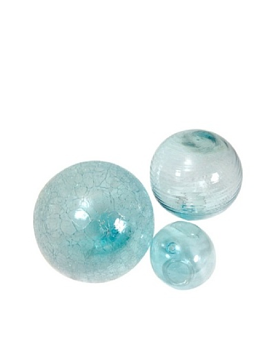 Worldly Goods Set of 3 Mouth Blown Glass Spheres, Sky