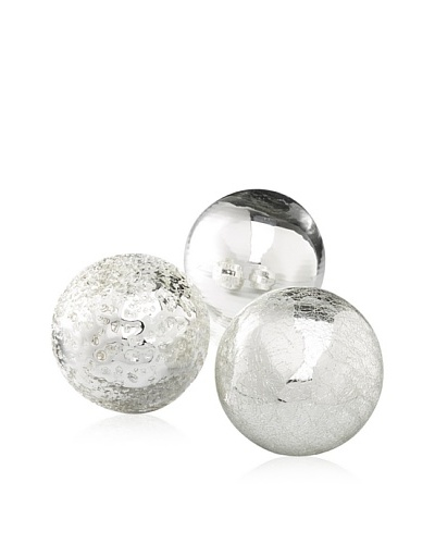 Worldly Goods Set of 3 Mouth Blown Glass Spheres, Silver