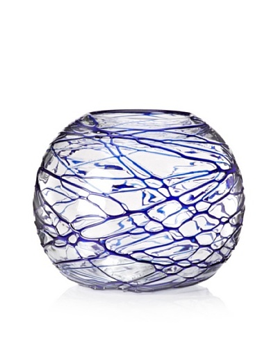 Worldly Goods Cobweb Fishbowl Vase, Cobalt