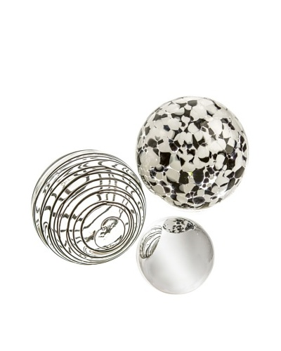Worldly Goods Set of 3 Mouth Blown Glass Spheres, Silver/Black