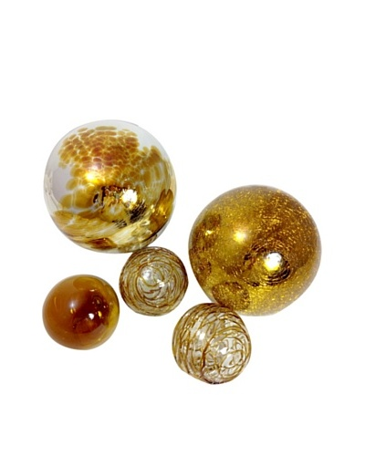 Worldly Goods Set of 5 Mouth Blown Glass Spheres, Silver/Amber