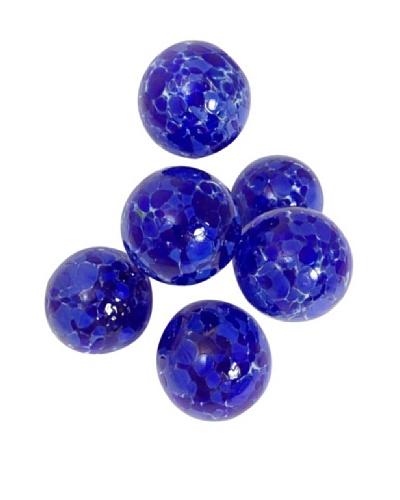 Worldly Goods Set of 6 Mini Mouth Blown Glass Spheres, Cobalt Speckled