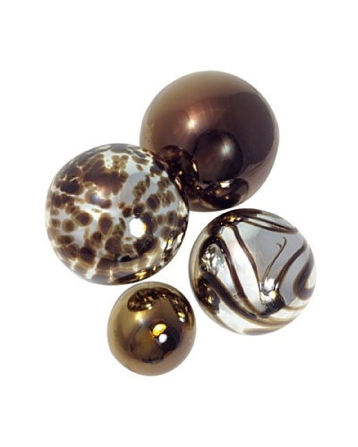 Worldly Goods Set of 4 Mouth Blown Glass Spheres, Silver/Chocolate