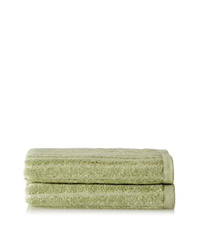 Yala BambooDreams Set of 2 Ribbed Hand Towels, Green Tea