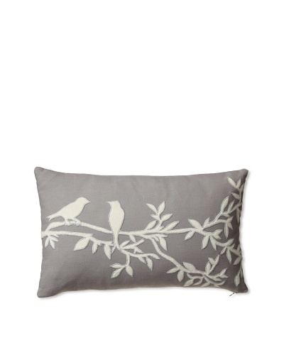 "Zalva Carmine Decorative Pillow, Grey/Cream, 12"" x 20"""