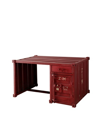 Zalva Industrial Desk, Antique Red