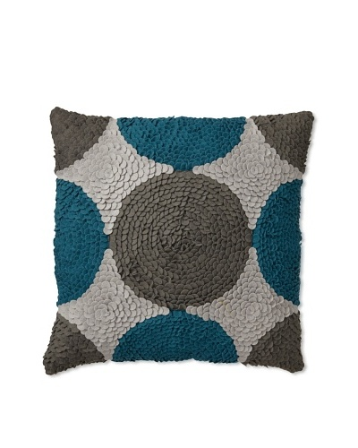 "Zalva Dilbar Decorative Pillow, Teal/Grey/Cream, 18"" x 18"""