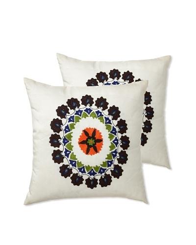 "Zalva Set of 2 Suzani Pillows, 18"" x 18"""