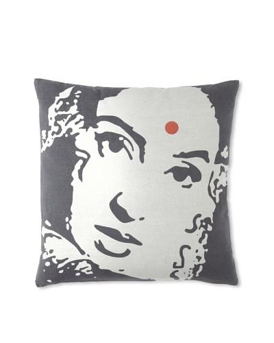 Zalva Ikat Pillow, Dark Gray, 18 x 18