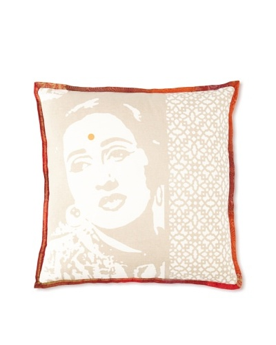 Zalva Bollywood Pillow, Taupe, 18 x 18
