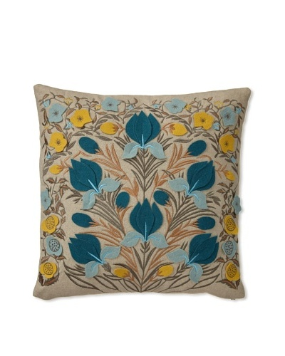 Zalva Dora Decorative Pillow, Teal/Cream/Yellow, 20? x 20? OwnModern.com