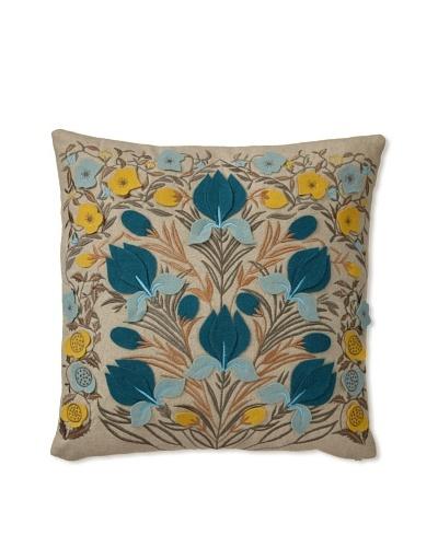 Teal And Cream Decorative Pillows : Zalva Dora Decorative Pillow, Teal/Cream/Yellow, 20? x 20? OwnModern.com