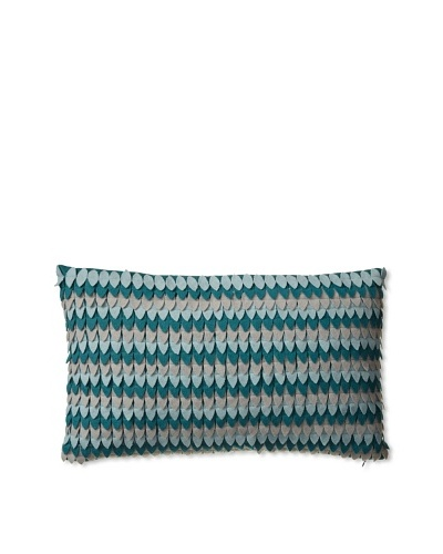 Zalva Nikos Ice Decorative Pillow, Teal/Cream/Aqua, 12 x 20