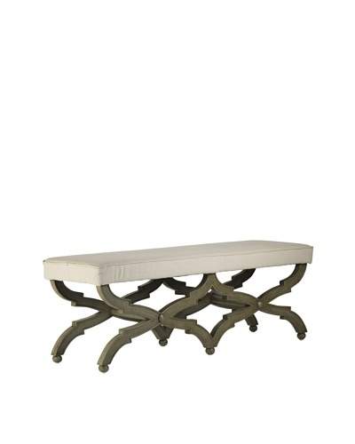 Zentique Crescenzo Bench, Off-White/Olive Green