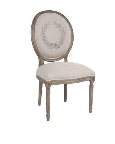 Zentique Medallion Linen & Oak Side Chair, Natural