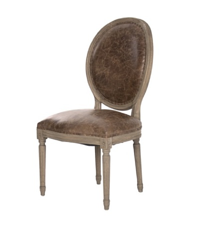 Zentique Medallion Leather & Oak Side Chair, Brown