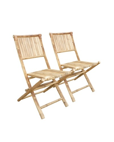ZEW, Inc. Set of 2 Outdoor Bamboo Foldable Chairs