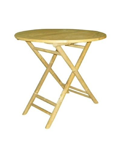 ZEW, Inc. Outdoor Bamboo Collapsible Round Table