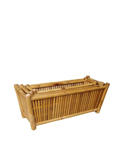 ZEW, Inc. Outdoor Bamboo Rectangular planters set of 3 nested