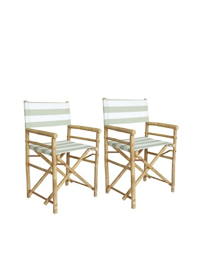 ZEW, Inc. Pair of Outdoor Bamboo Director Chairs with Interchangeable Covers, Celadon Stripes/White