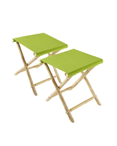 ZEW, Inc. Set of 2 Outdoor Bamboo Foldable Stools, Green