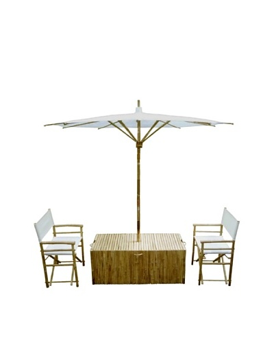 ZEW, Inc. Outdoor Bamboo Conversation Set with Umbrella, White