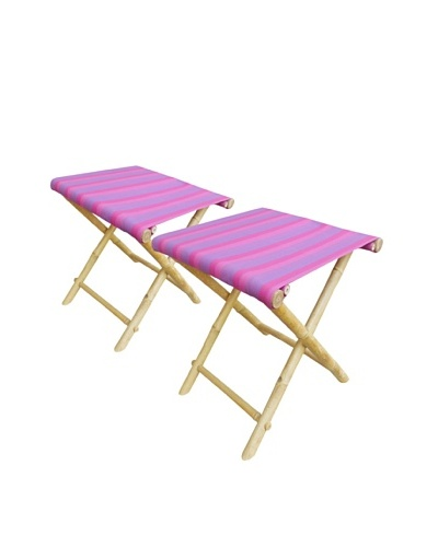 ZEW, Inc. Set of 2 Outdoor Bamboo Foldable Stools, Fuchsia Stripes