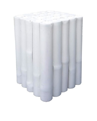 ZEW, Inc. Indoor Bamboo Square Stool, White